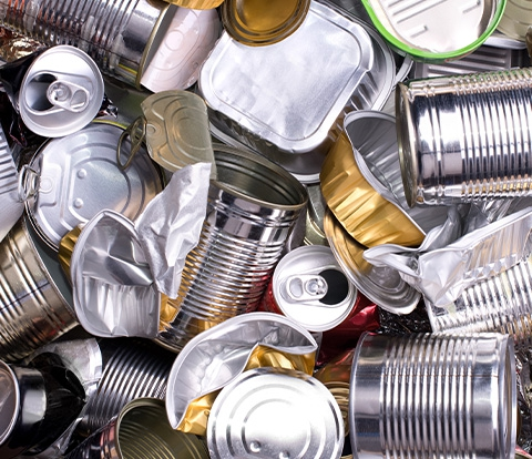 Pile of tin and aluminum cans